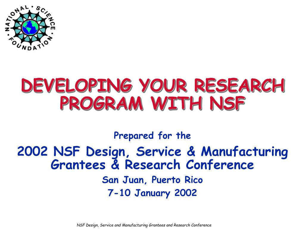 developing your research program with nsf l.