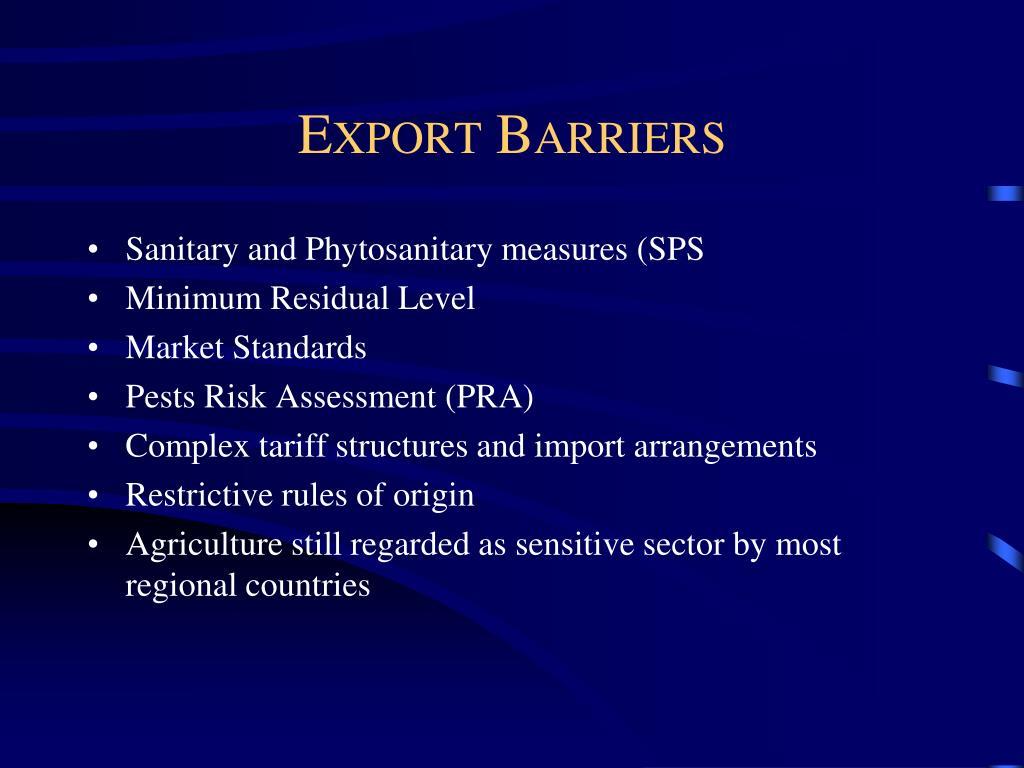 Export Barriers