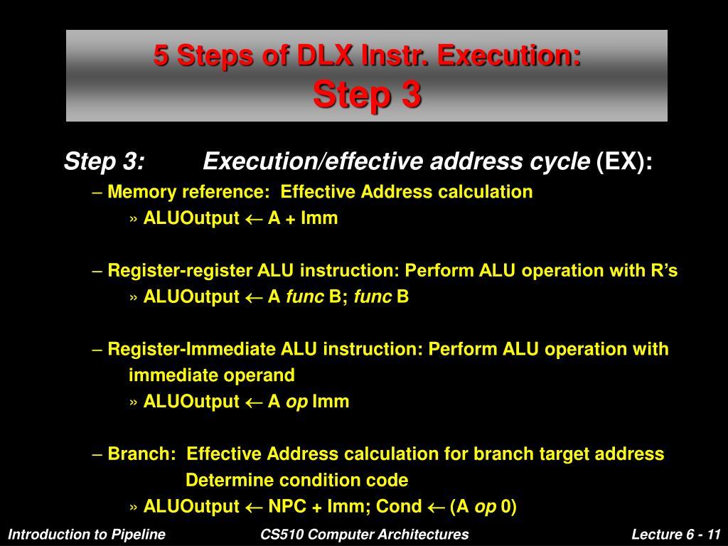 5 Steps of DLX Instr. Execution: