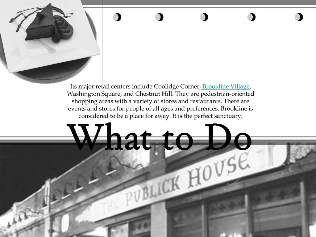 Its major retail centers include Coolidge Corner,