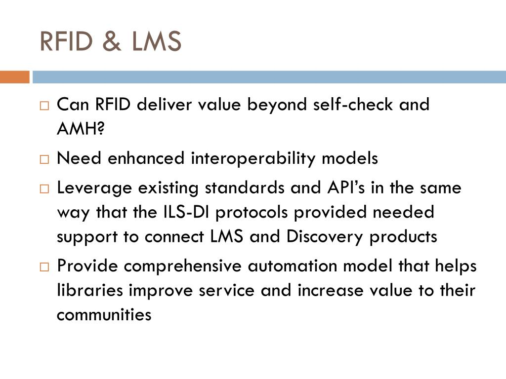 PPT - The impact of RFID on library management systems