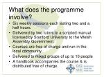 what does the programme involve