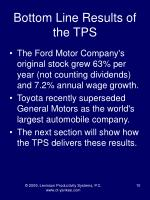 bottom line results of the tps