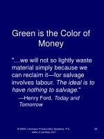 green is the color of money