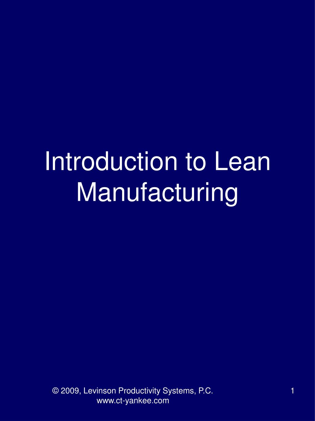 introduction to lean manufacturing l.