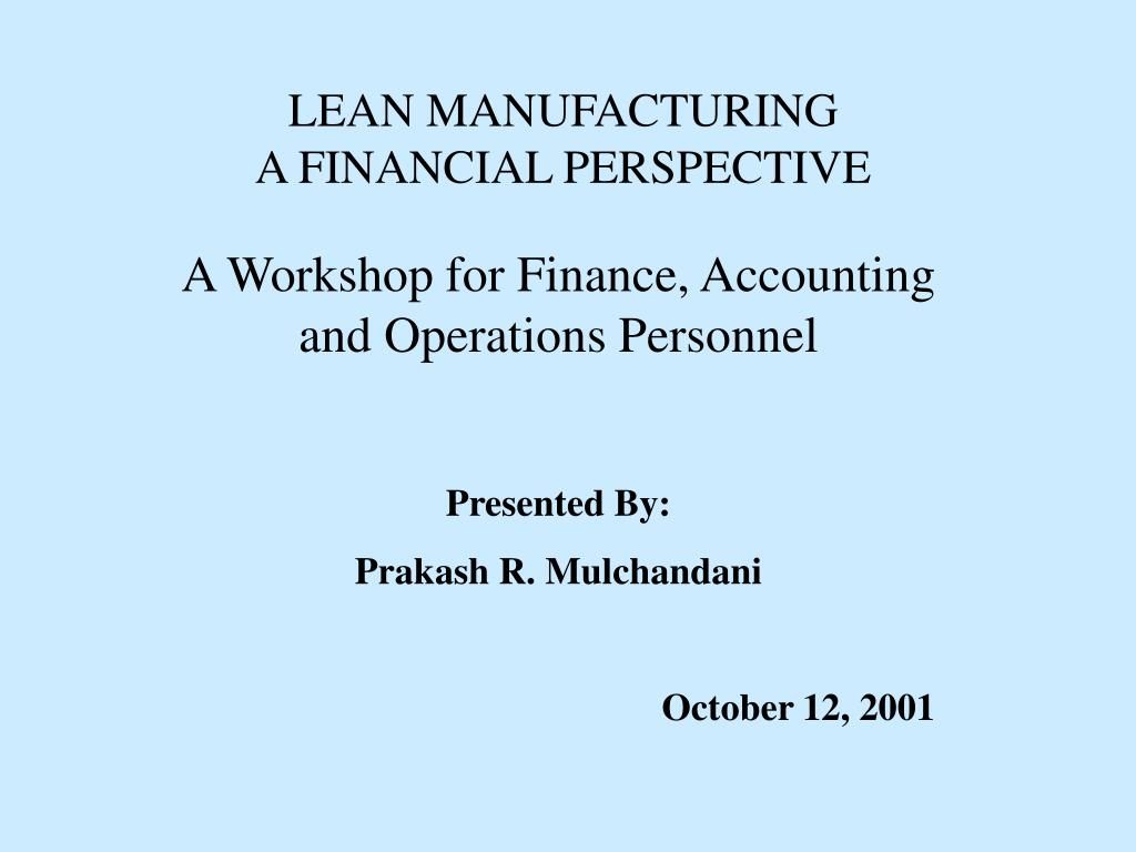 lean manufacturing a financial perspective l.