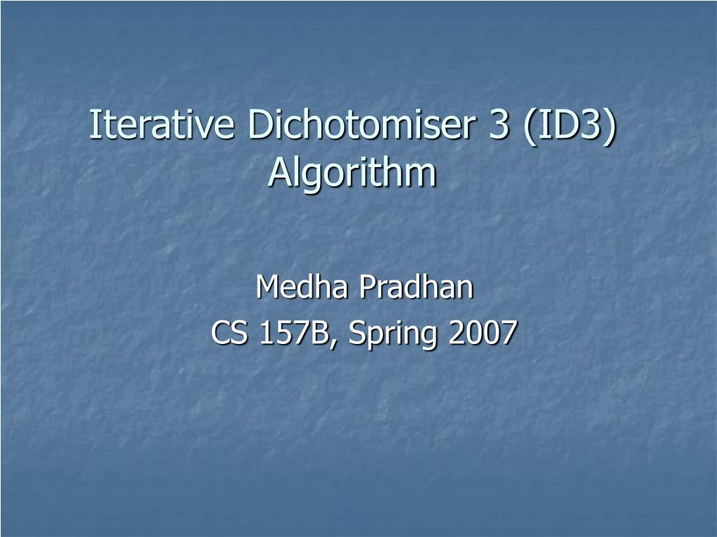 iterative dichotomiser 3 id3 algorithm l.