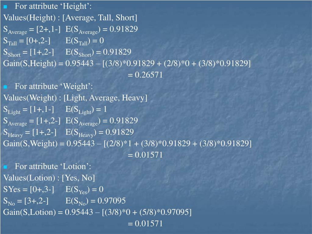 For attribute 'Height':