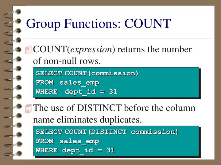 Group Functions: COUNT