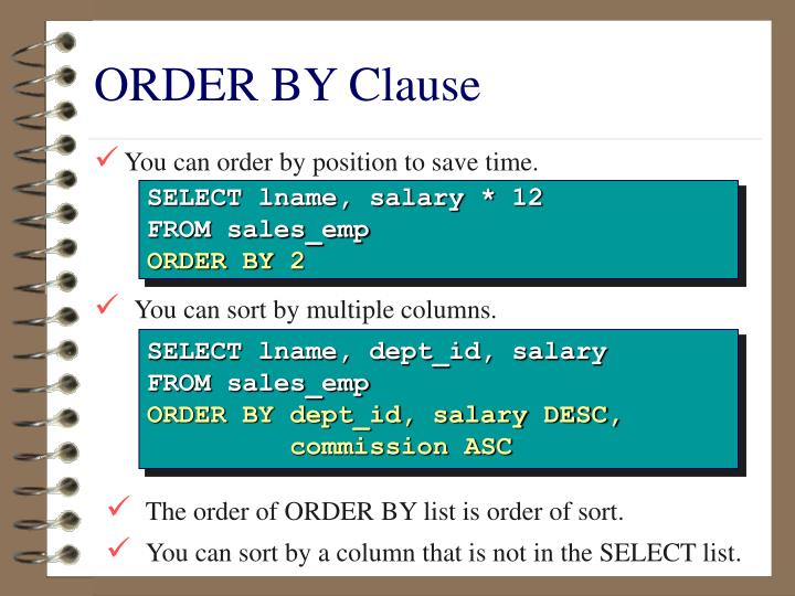 ORDER BY Clause