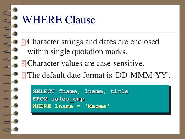 WHERE Clause