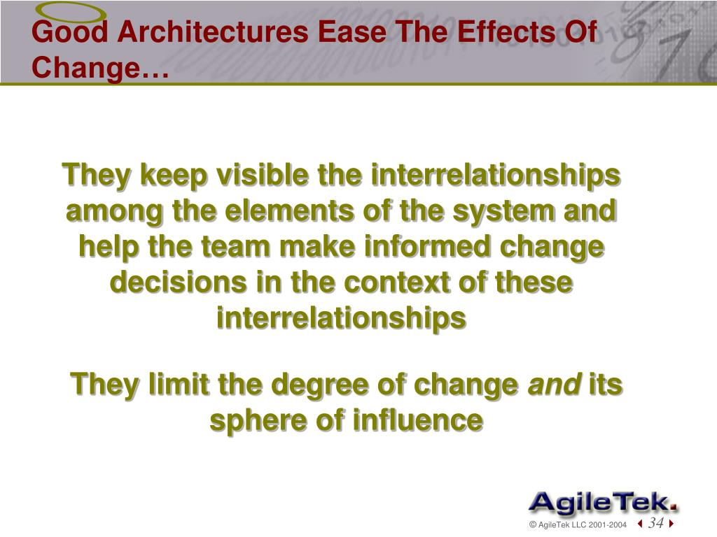 Good Architectures Ease The Effects Of Change…