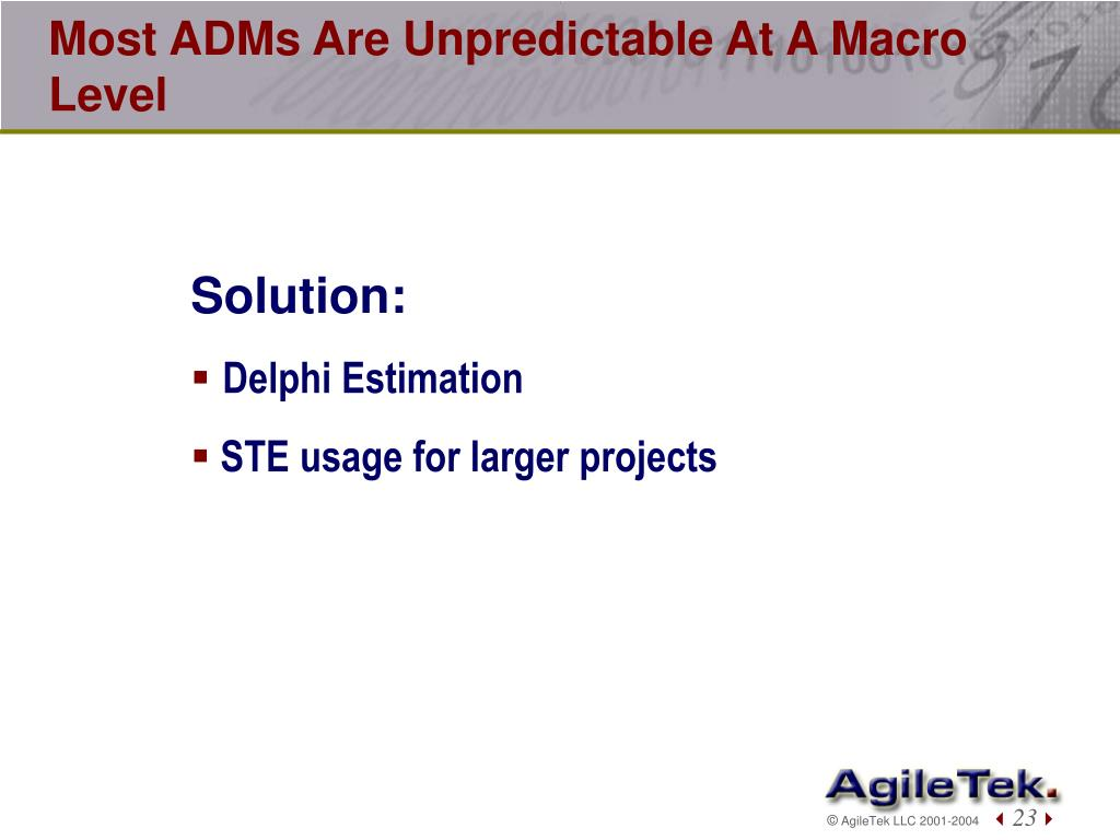 Most ADMs Are Unpredictable At A Macro Level