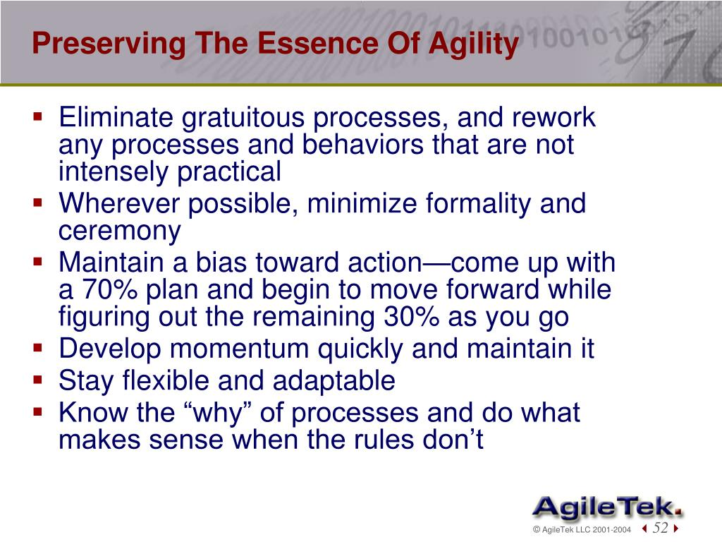 Preserving The Essence Of Agility