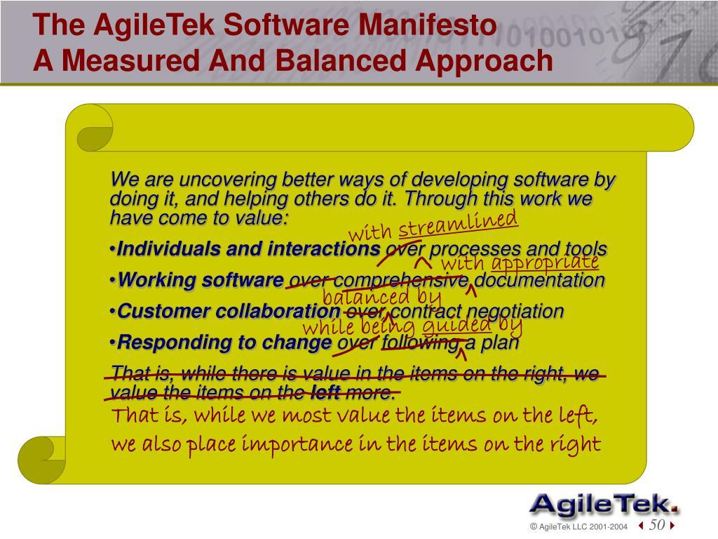 The AgileTek Software Manifesto