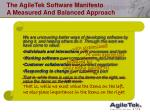 the agiletek software manifesto a measured and balanced approach