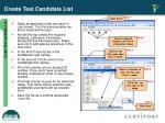 create test candidate list