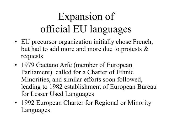 Expansion of official eu languages