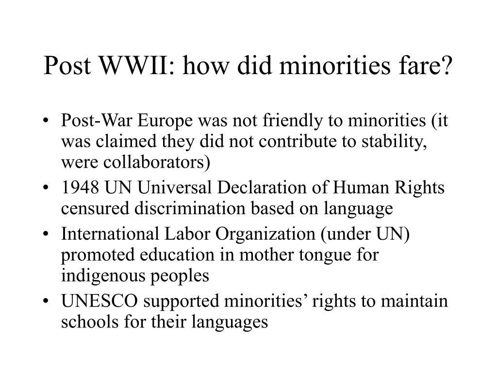 Post WWII: how did minorities fare?