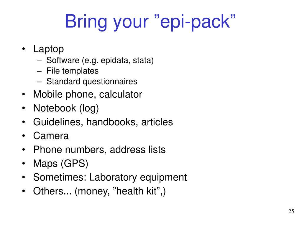"""Bring your """"epi-pack"""""""