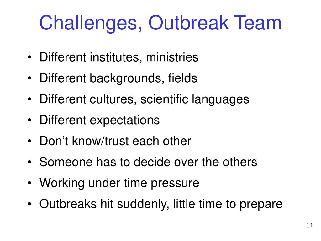 Challenges, Outbreak Team