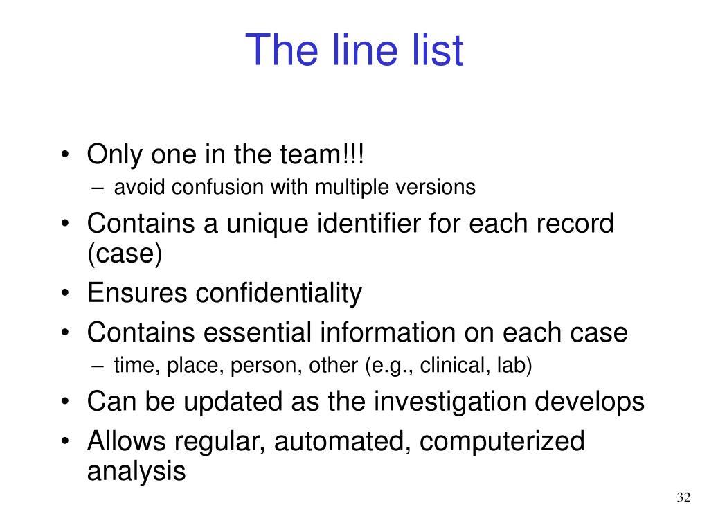 The line list