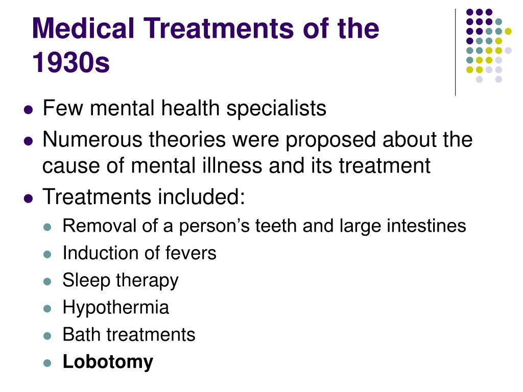 Medical Treatments of the 1930s