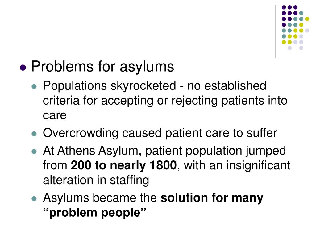 Problems for asylums