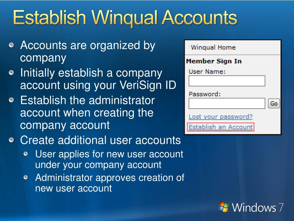 Establish Winqual Accounts