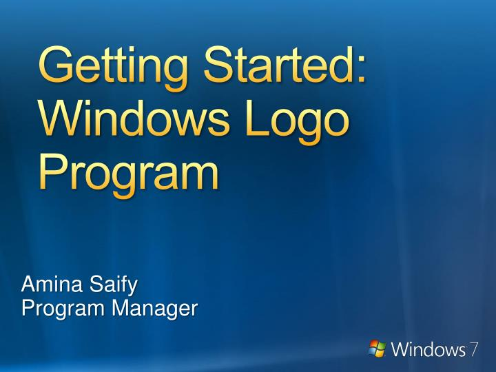 Getting started windows logo program