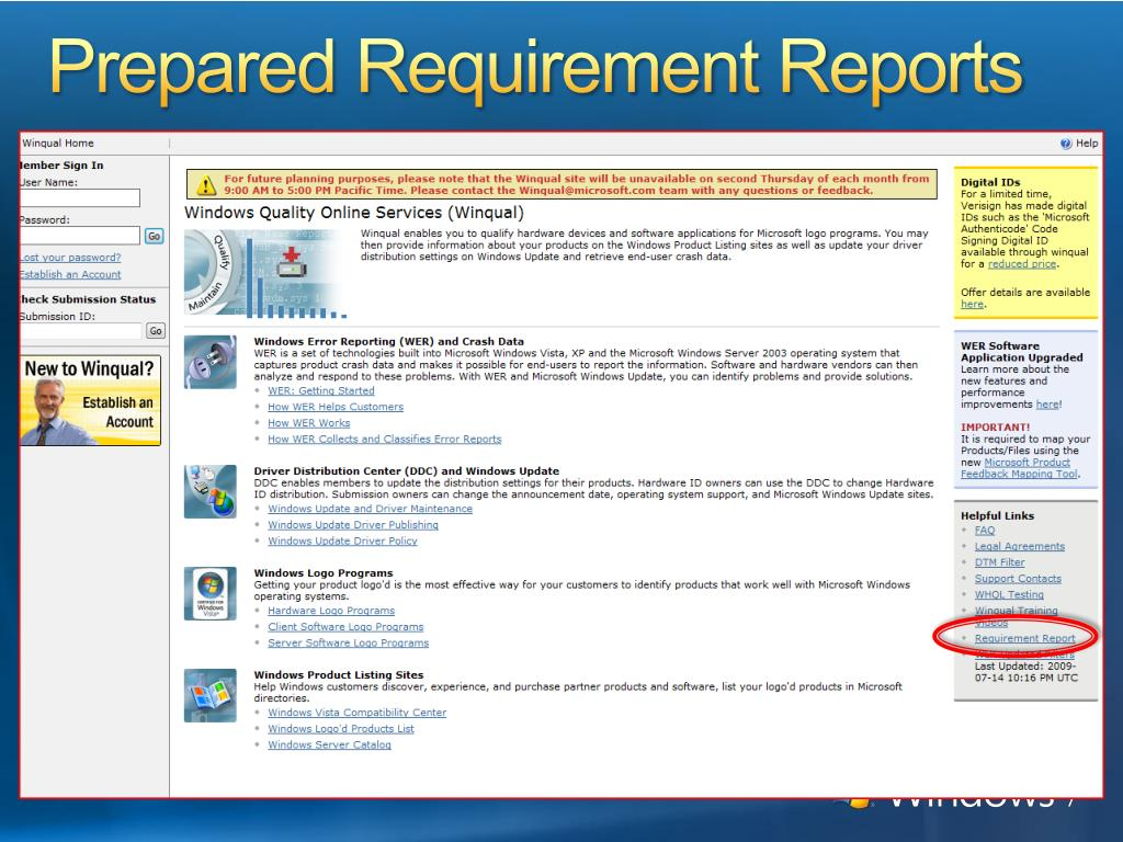 Prepared Requirement Reports