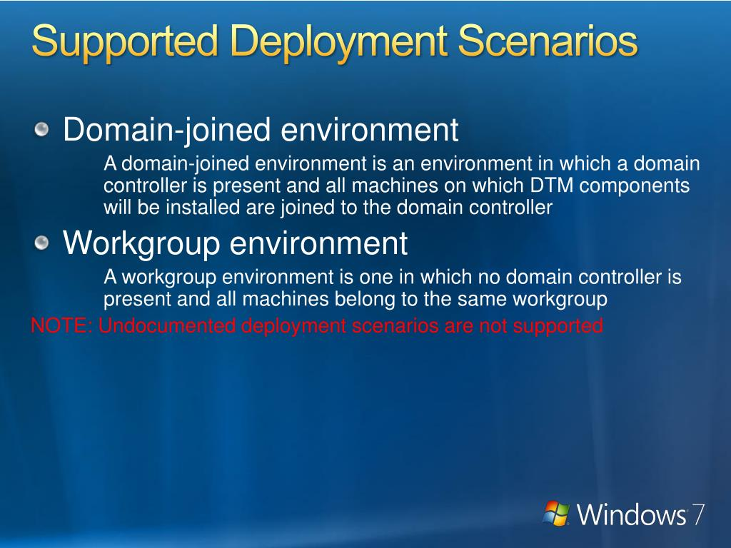 Supported Deployment Scenarios