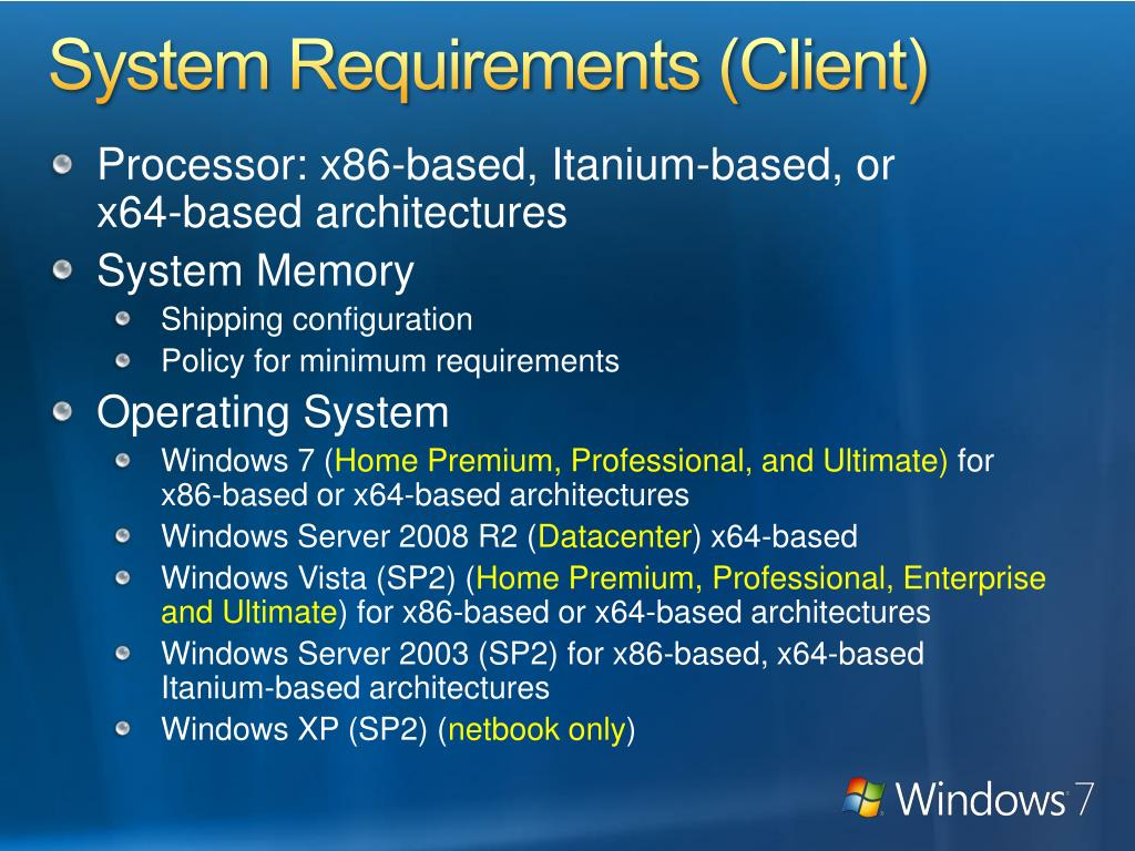 System Requirements (Client)