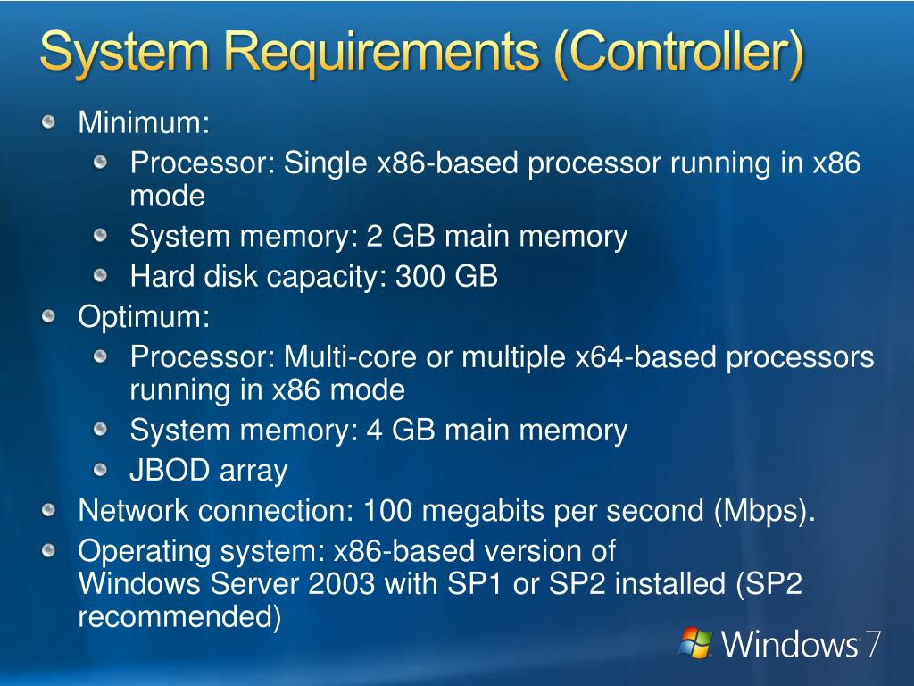 System Requirements (Controller)