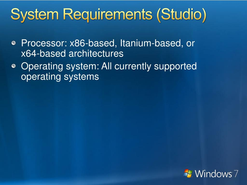 System Requirements (Studio)