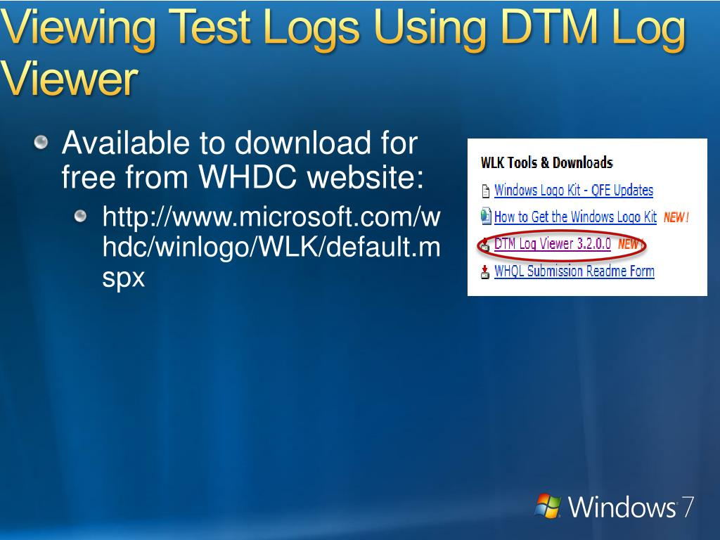 Viewing Test Logs Using DTM Log Viewer