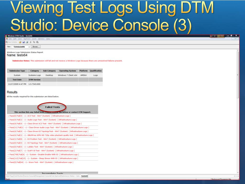 Viewing Test Logs Using DTM Studio: Device Console (3)