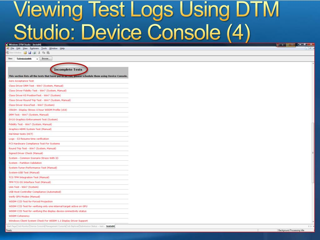 Viewing Test Logs Using DTM Studio: Device Console (4)