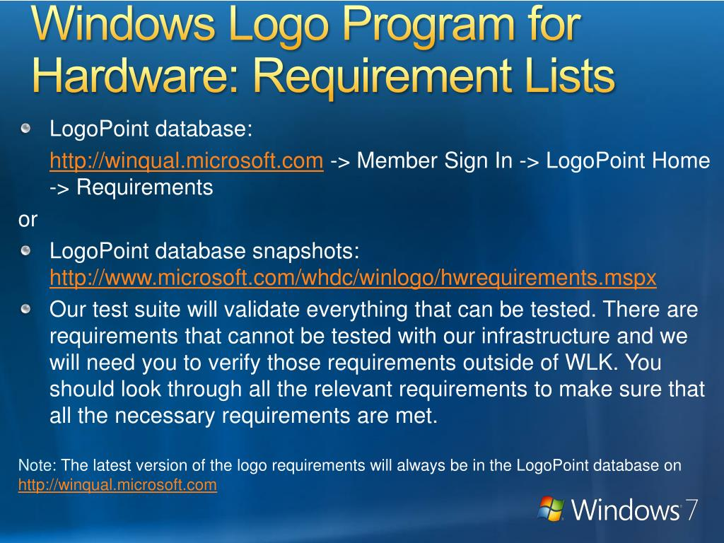 Windows Logo Program for Hardware: Requirement