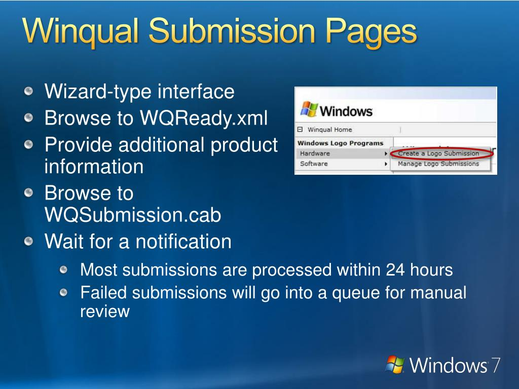 Winqual Submission Pages