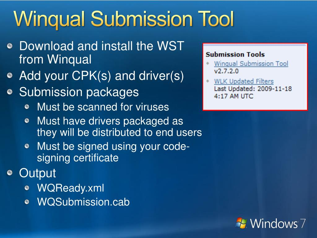 Winqual Submission Tool