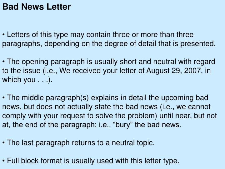 bad news letter 2 essay Get help on 【 business bad news letter essay 】 on graduateway ✅ huge assortment of free essays & assignments ✅ the best writers.
