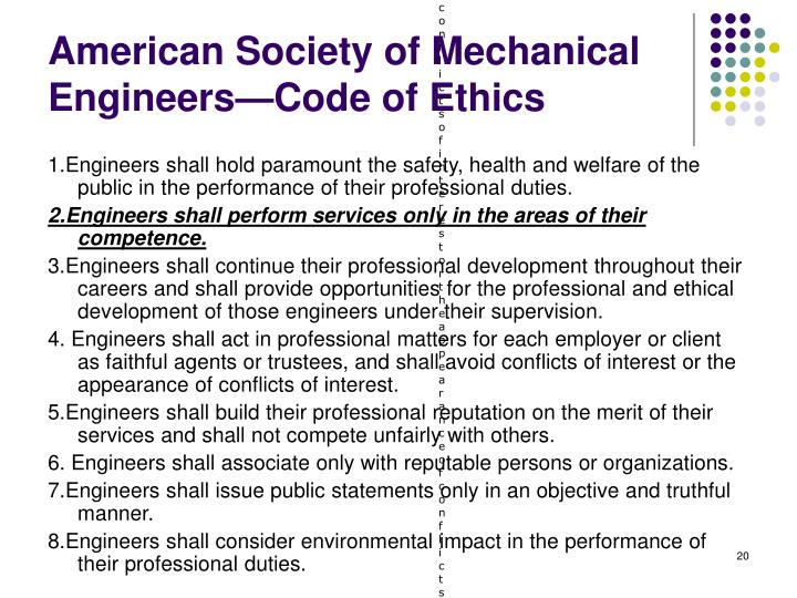 a description of asme which requires ethical practice by each of its members Code of ethics a code of ethics issued by a business is a particular kind of policy statement a properly framed code is, in effect, a form of legislation within the company binding on its employees, with specific sanctions for violation of the code.