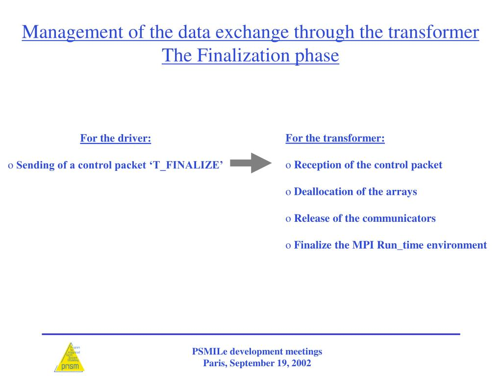Management of the data exchange through the transformer