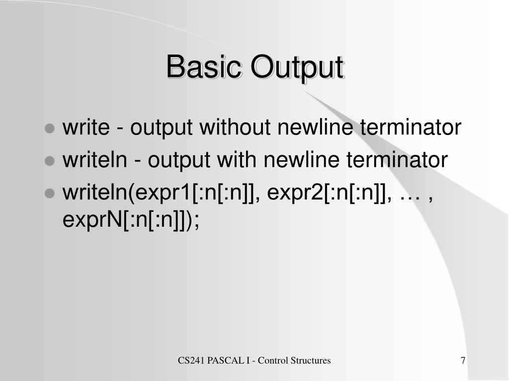 Basic Output