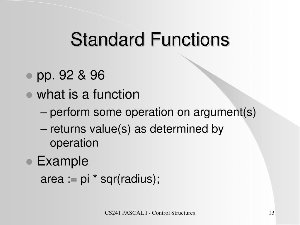 Standard Functions