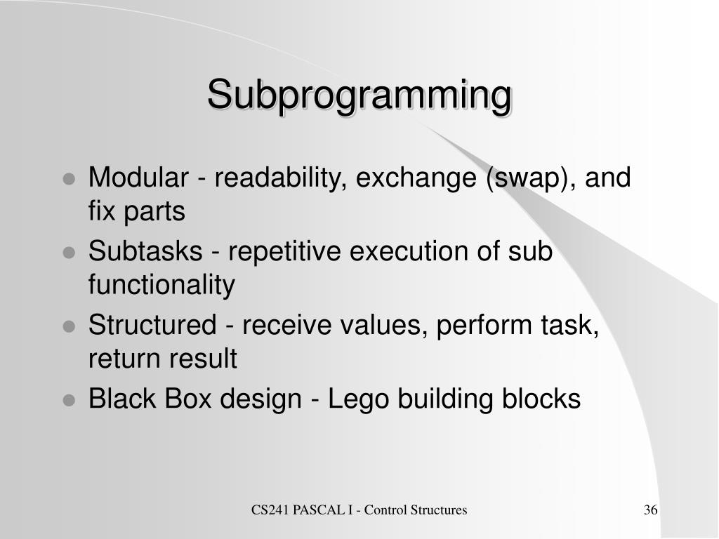 Subprogramming