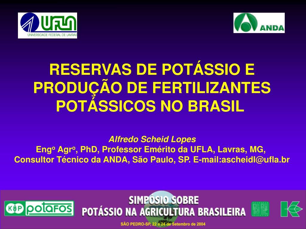 RESERVAS DE POTÁSSIO E