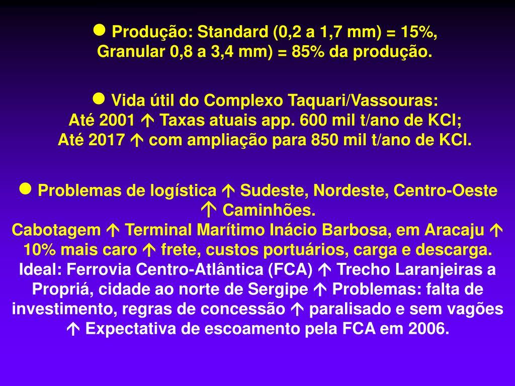 Produção: Standard (0,2 a 1,7 mm) = 15%,