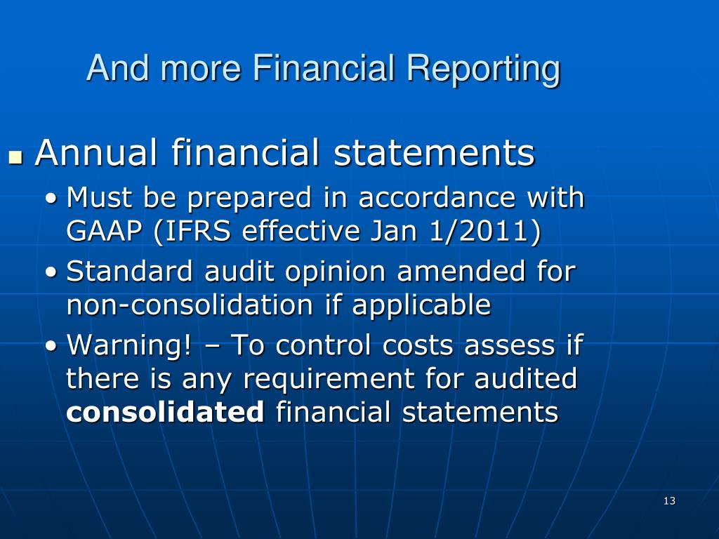 And more Financial Reporting